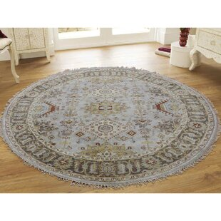 One Of A Kind Carli Pure Hand Knotted Runner Round 5 Wool Gray Yellow Area Rug