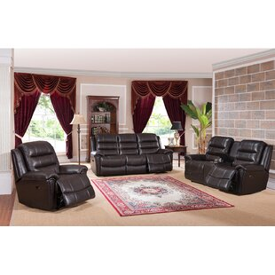 Amax Astoria Reclining 3 Piece Leather Living Room Set