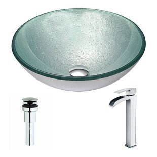 ANZZI Spirito Glass Circular Vessel Bathroom Sink with Faucet