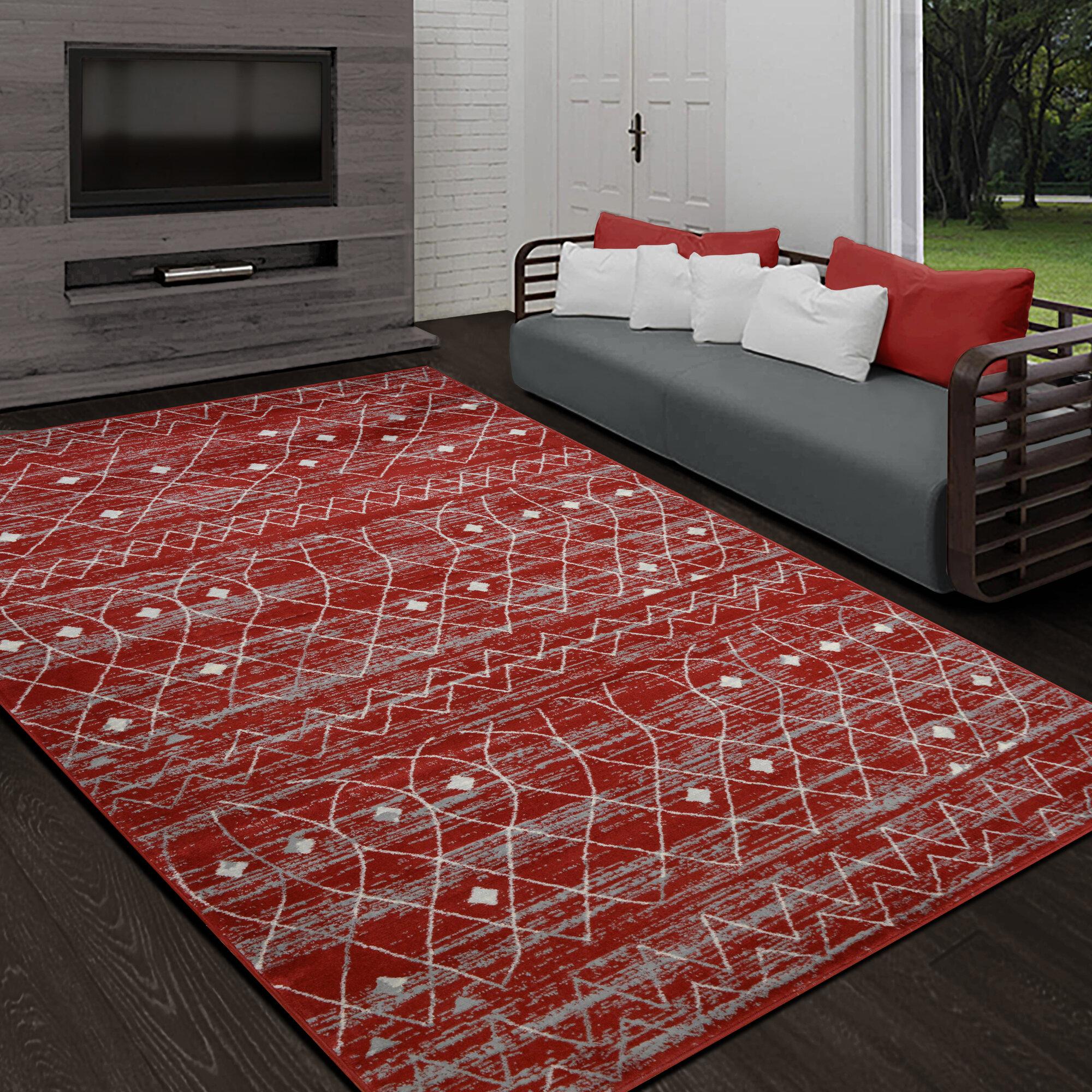 Foundry Select Hudson Yards Scarlet Red Area Rug Wayfair
