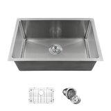 """26"""" L x 18"""" W Undermount Kitchen Sink with Basket strainer"""