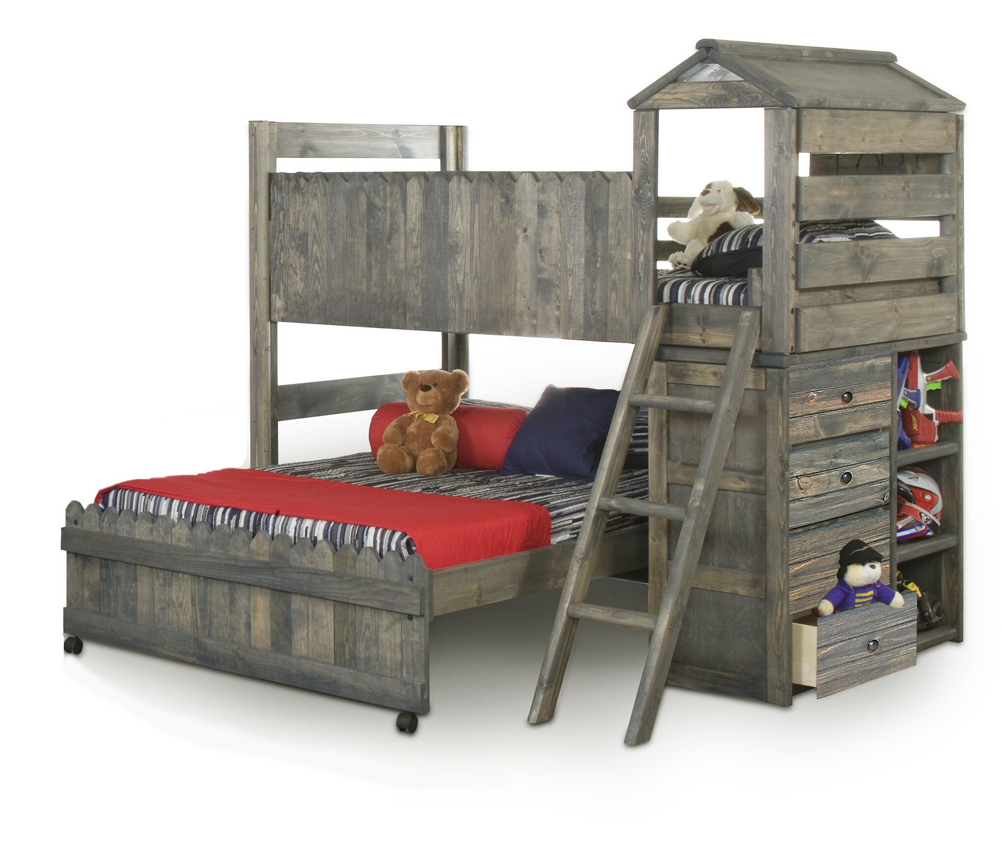 Harriet Bee Allanton Twin Over Full L Shaped Bunk Beds With Ladder Wayfair