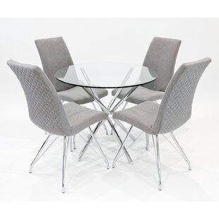 Franco Dining Set With 4 Madelina Chairs By Metro Lane