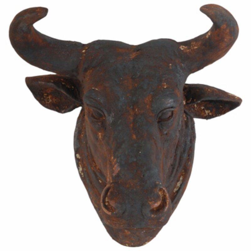 Antiqued Bull Head Wall Decor