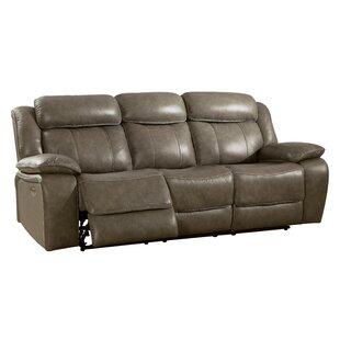 Rangel Genuine Leather Reclining Sofa by Loon Peak