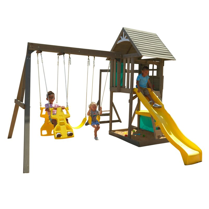 Big Backyard Sandy Cove Wooden Swing Set Box 1