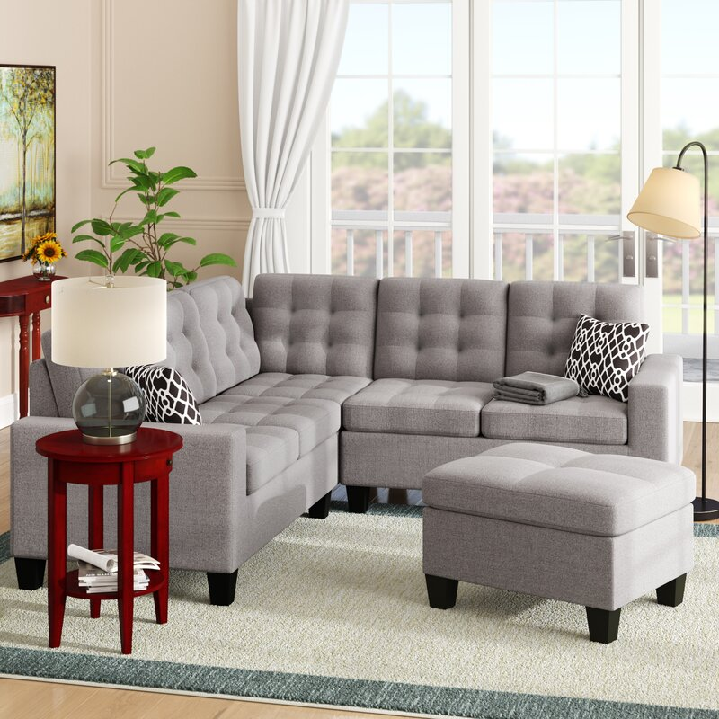 Andover Mills Pawnee Symmetrical Sectional With Ottoman