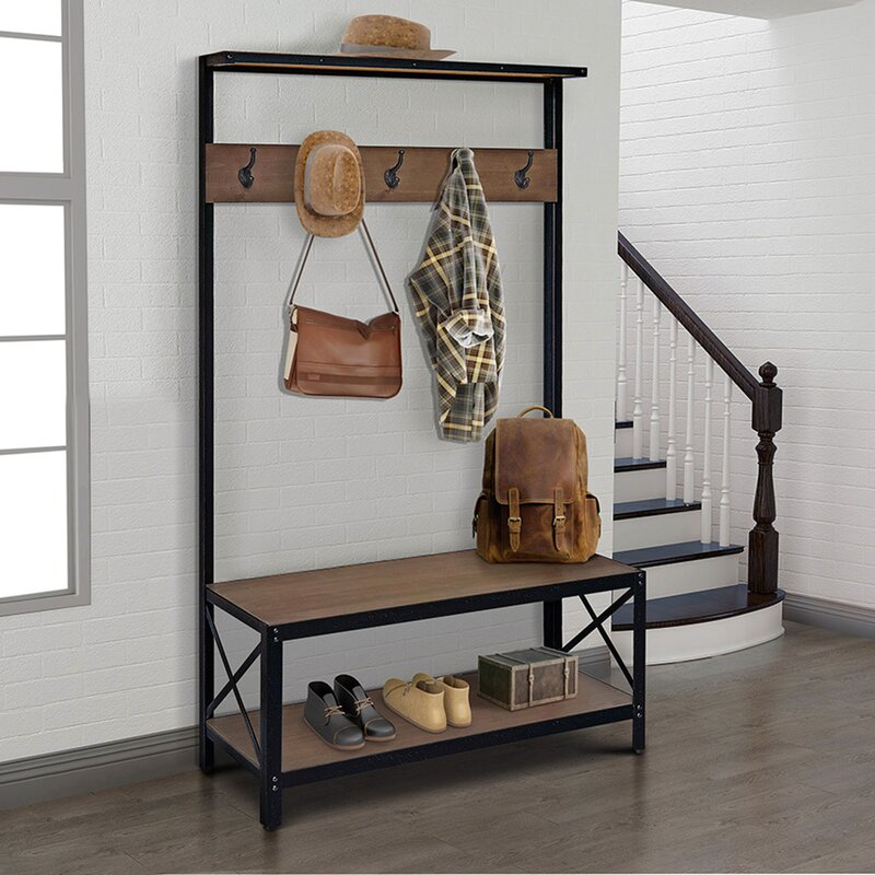 Williston Forge Tokarz Bench and Coat Rack Hall Tree | Wayfair