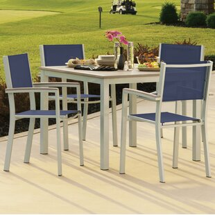 Latitude Run Farmington 5 Piece Dining Set With Ink Sling Back chairs