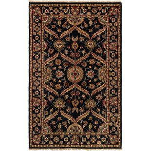 Top Reviews One-of-a-Kind Gregoire Hand-Knotted 5'6 x 8'7 Wool Black/Beige Area Rug By Isabelline