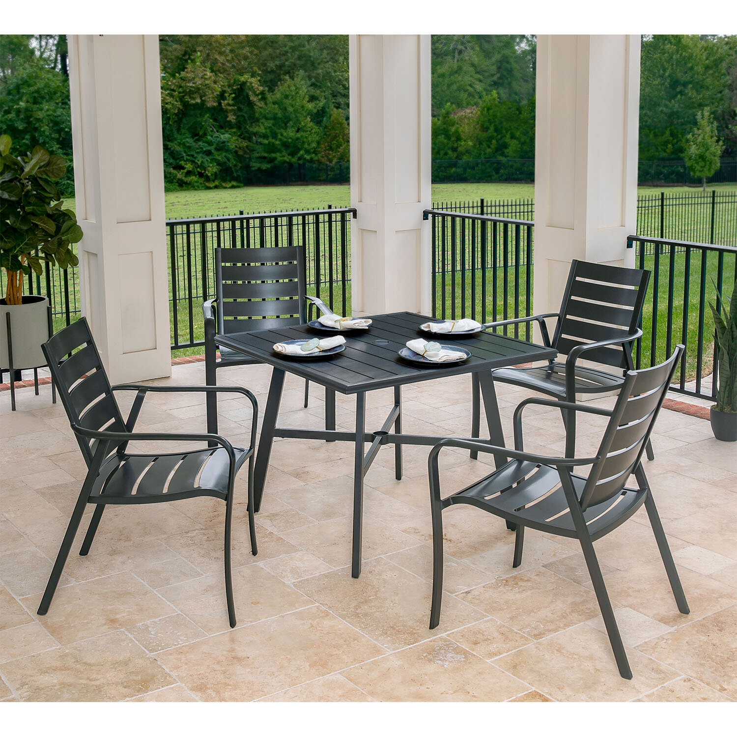 Magnificent Colson 5 Piece Commercial Grade Patio Dining Set With 4 Aluminum Slat Back Dining Chairs And A 38 Slat Top Table Spiritservingveterans Wood Chair Design Ideas Spiritservingveteransorg