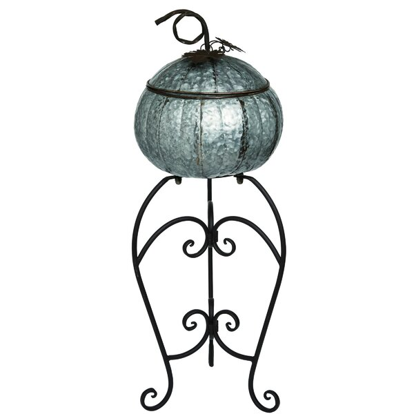 The Holiday Aisle Metal Harvest Pumpkin Container With Pedestal Wayfair