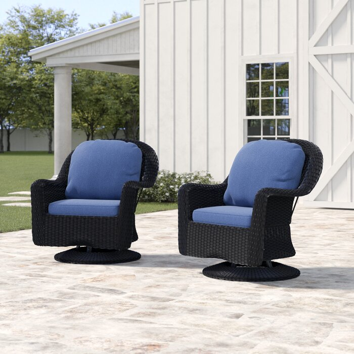 Remarkable Dearing Modern Outdoor Wicker Swivel Club Patio Chair With Cushions Pabps2019 Chair Design Images Pabps2019Com