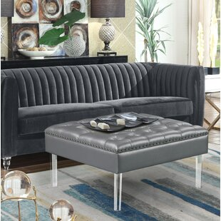 Brownfield Leather Cocktail Ottoman by House of Hampton