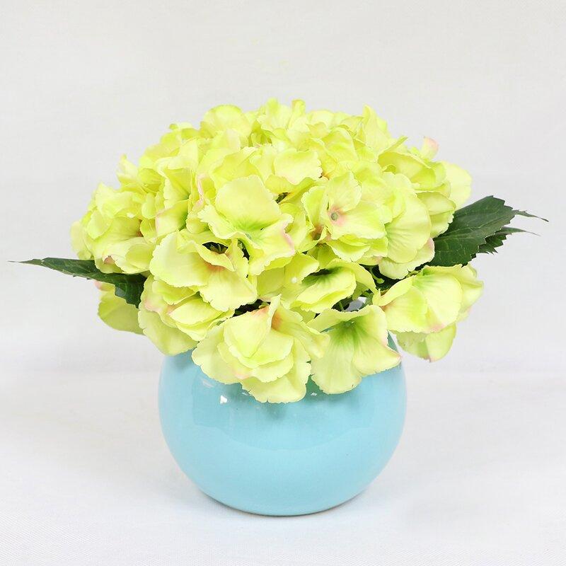 Charlton home artificial hydrangea flower floral arrangement in pot artificial hydrangea flower floral arrangement in pot mightylinksfo