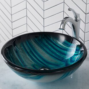 Price comparison Nature Series Glass Circular Vessel Bathroom Sink with Faucet By Kraus