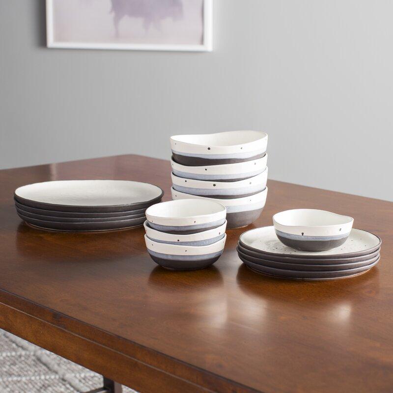 Thistle Double Bowl 16 Piece Dinnerware Set Service for 4 & Mint Pantry Thistle Double Bowl 16 Piece Dinnerware Set Service for ...