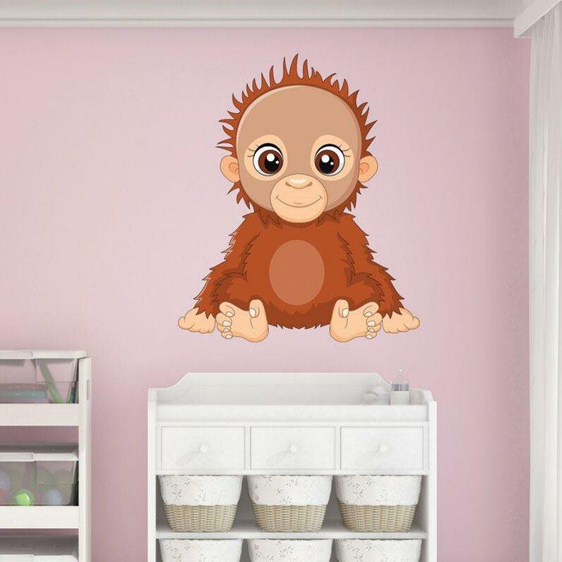 Zoomie Kids Ananke Orangutan Baby Wall Decal Wayfair