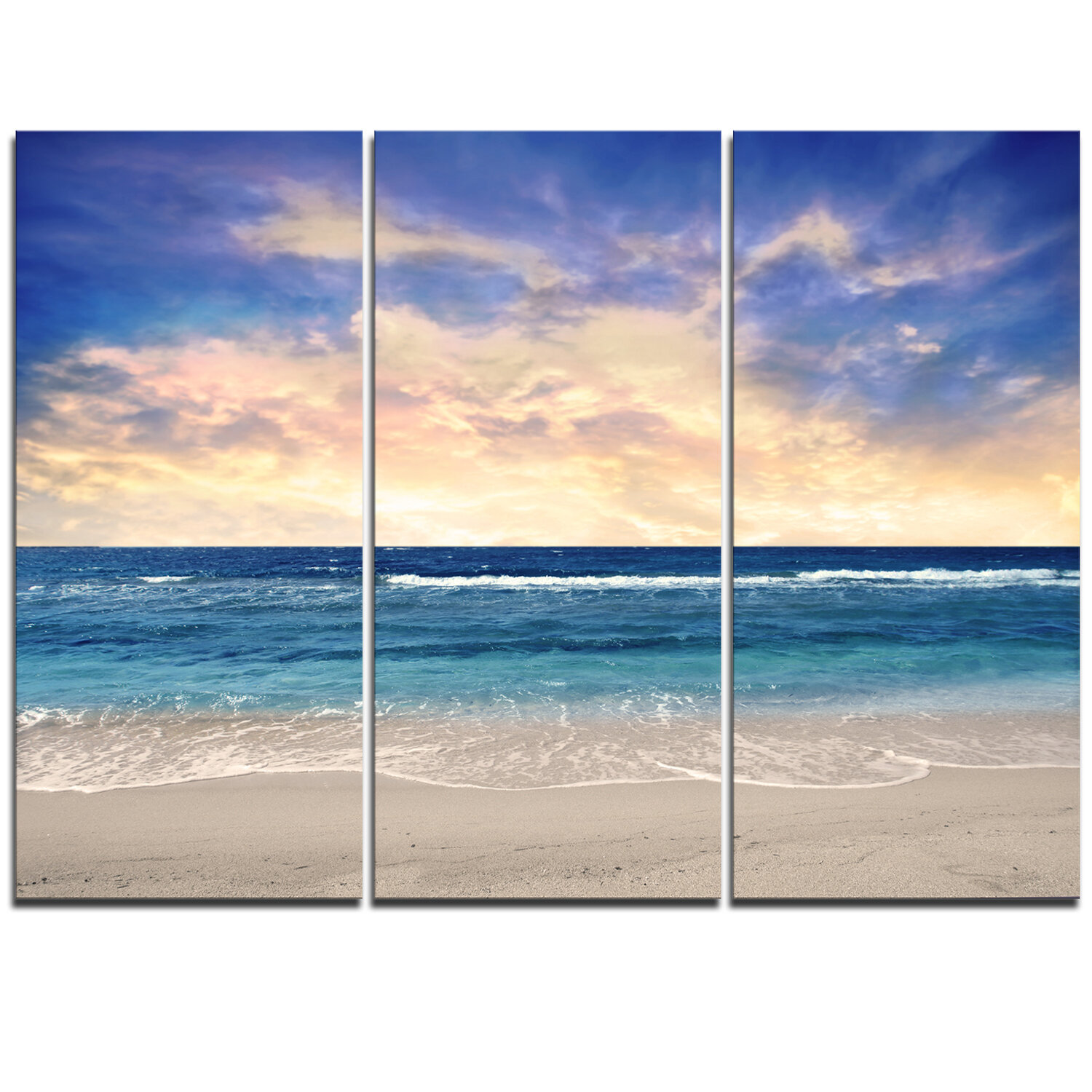 Designart Clear Blue Sky And Ocean At Sunset 3 Piece Graphic Art On Wrapped Canvas Set Wayfair