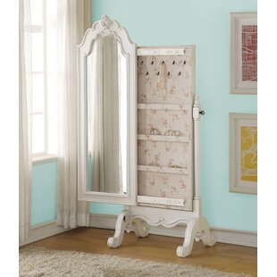 Harriet Bee Saffold Cheval Free Standing Jewelry Armoire with Mirror