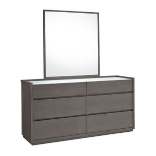 Keomi 6 Drawer Double Dresser with Mirror
