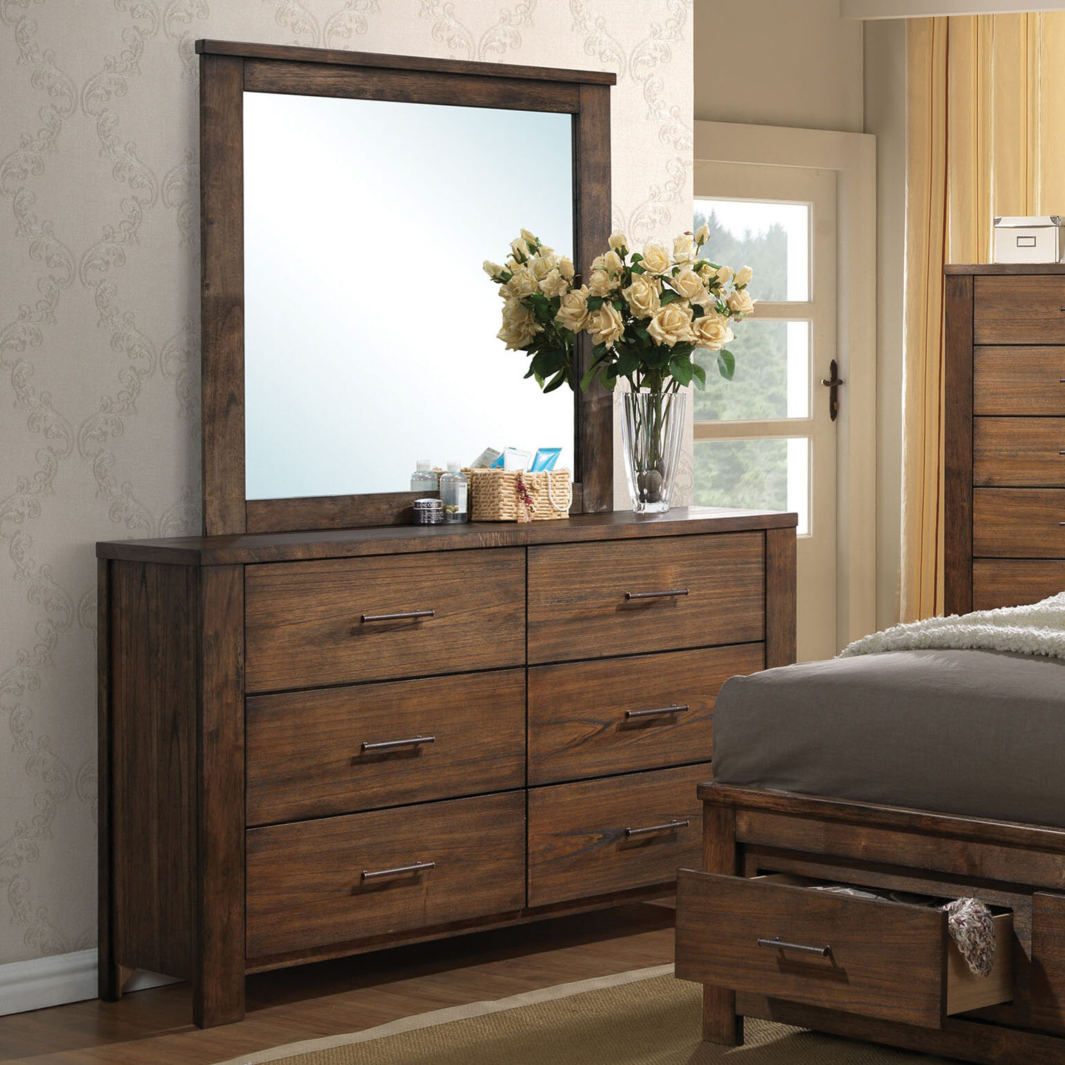 Latitude Run Schlesinger 6 Drawer Double Dresser With Mirror Reviews Wayfair