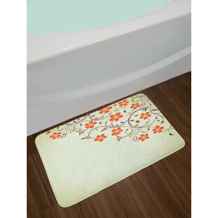 Pale Green Red Ladybugs Bath Rug