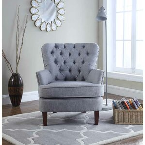 Brazell Nailhead Button Tufted Armchair by A..