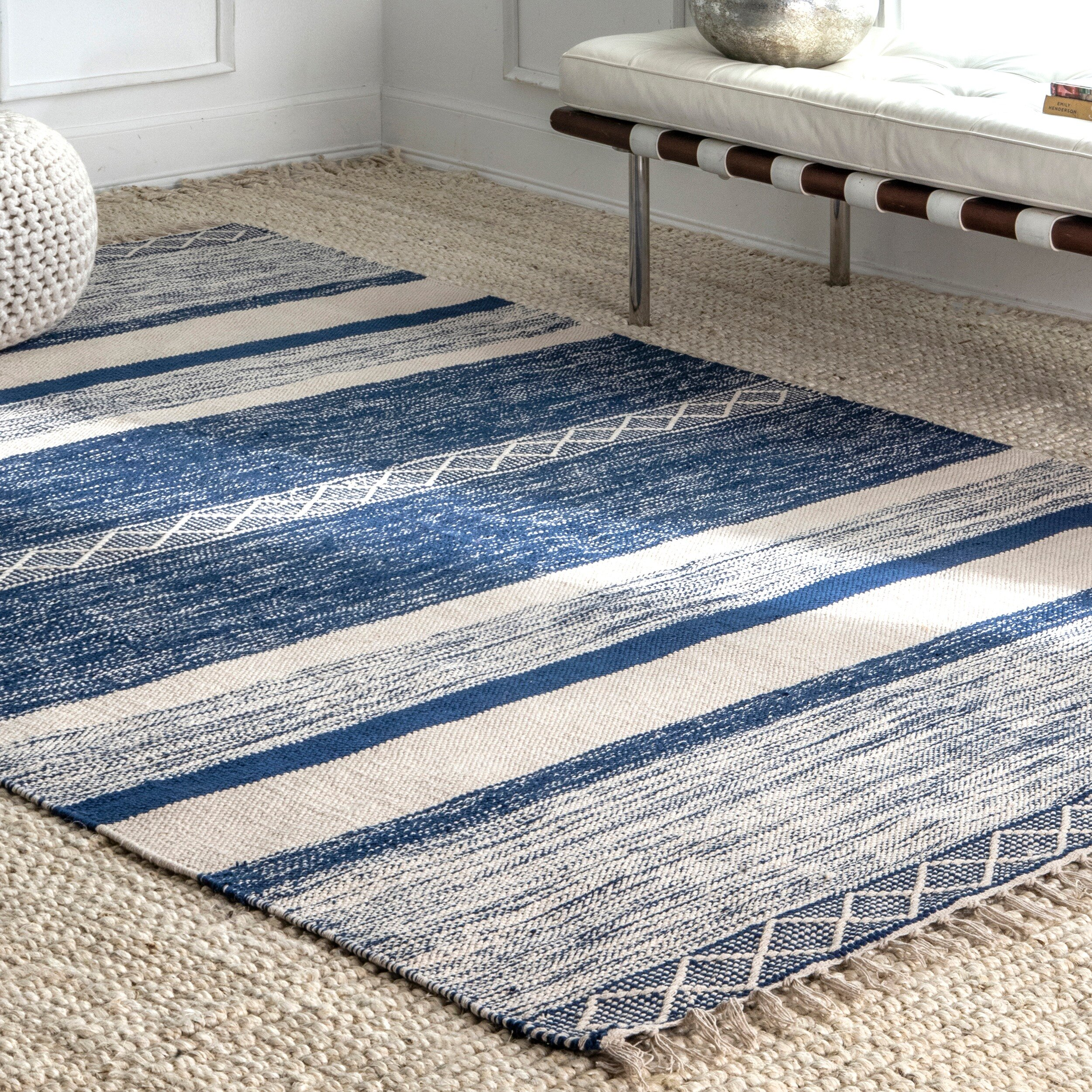 Loflandstriped Hand Knotted Blue Area Rug Reviews Birch Lane