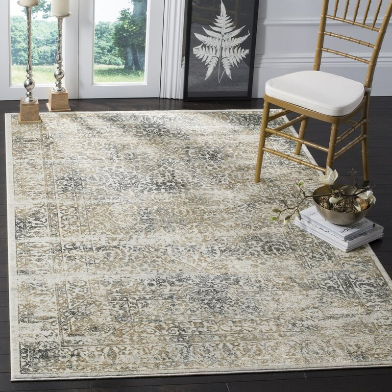Alcott Hill Van Andel Silver/Anthracite Area Rug, Size: Rectangle 8 x 10