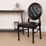 Cutler Upholstered Round Side Chair in Black by Rosdorf Park