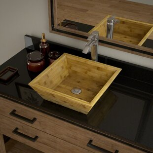 Affordable Bamboo Square Vessel Bathroom Sink with Faucet By MR Direct