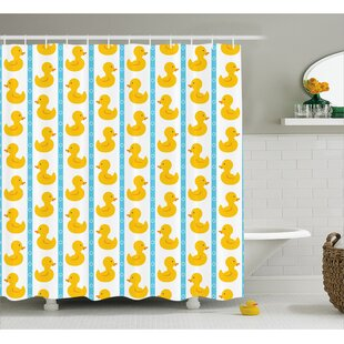 Jaleel Duck Baby Blue Stripes Single Shower Curtain