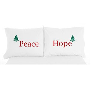 Micro Flannel® Peace and Hope Christmas Novelty Print Pillowcase Pair