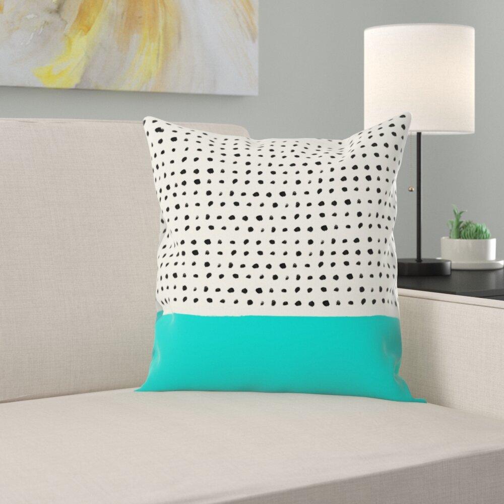 East Urban Home Aqua Throw Pillow Wayfair