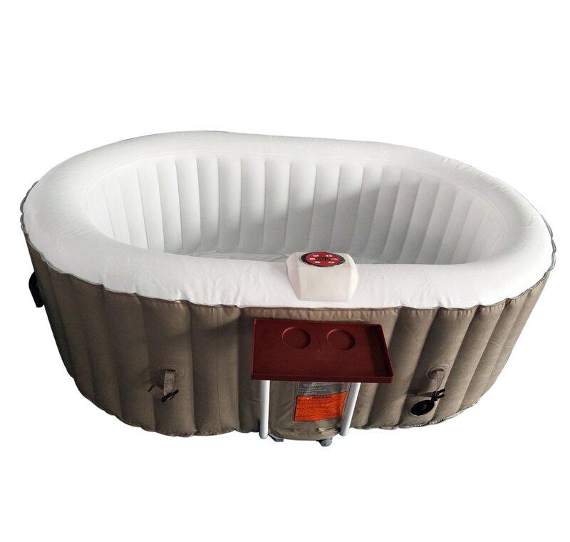 ALEKO Oval Hot Tub 2-Person 130-Jet Inflatable Plug and Play Spa ...