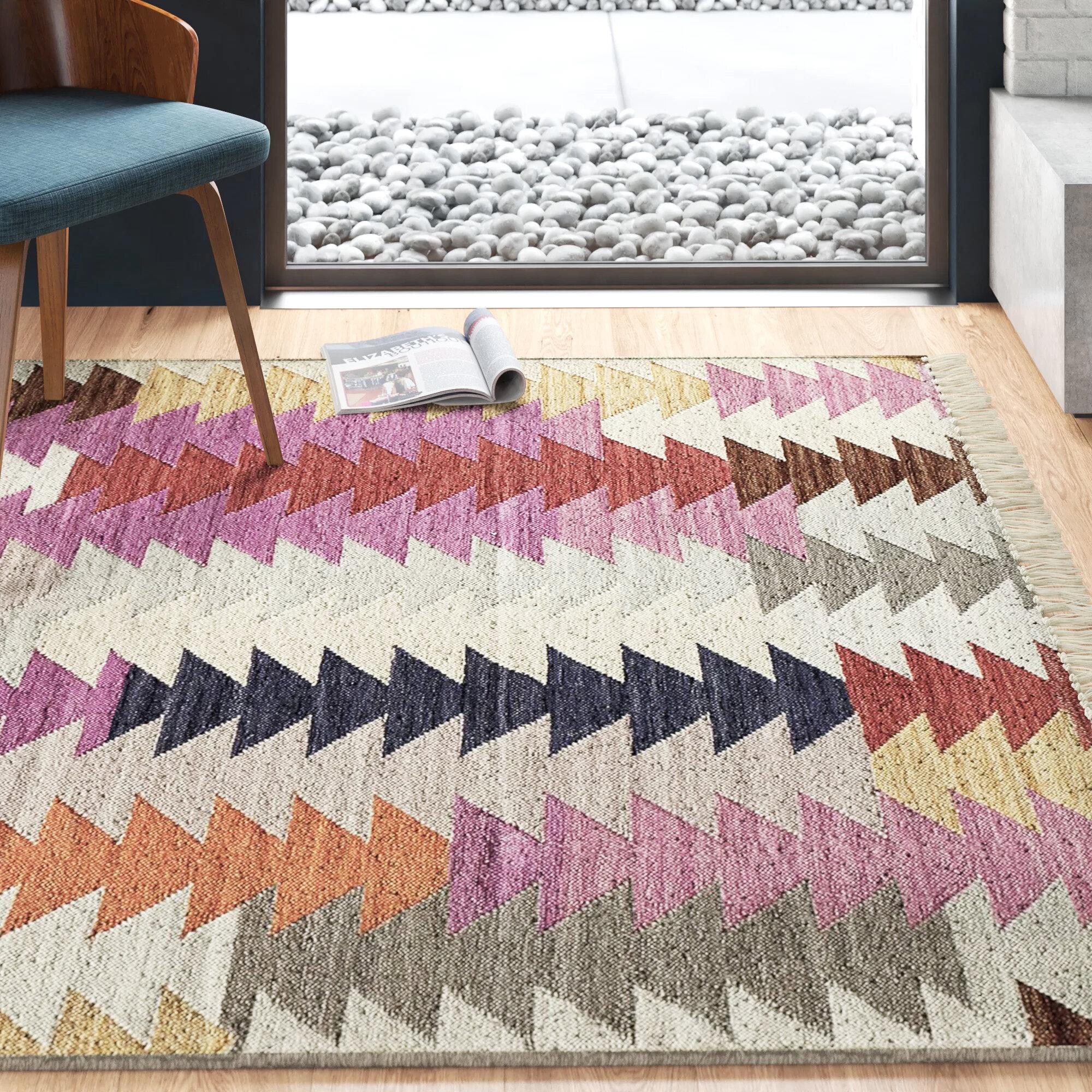 Raya Handwoven Wool Gray Pink Blue Area Rug Reviews Allmodern