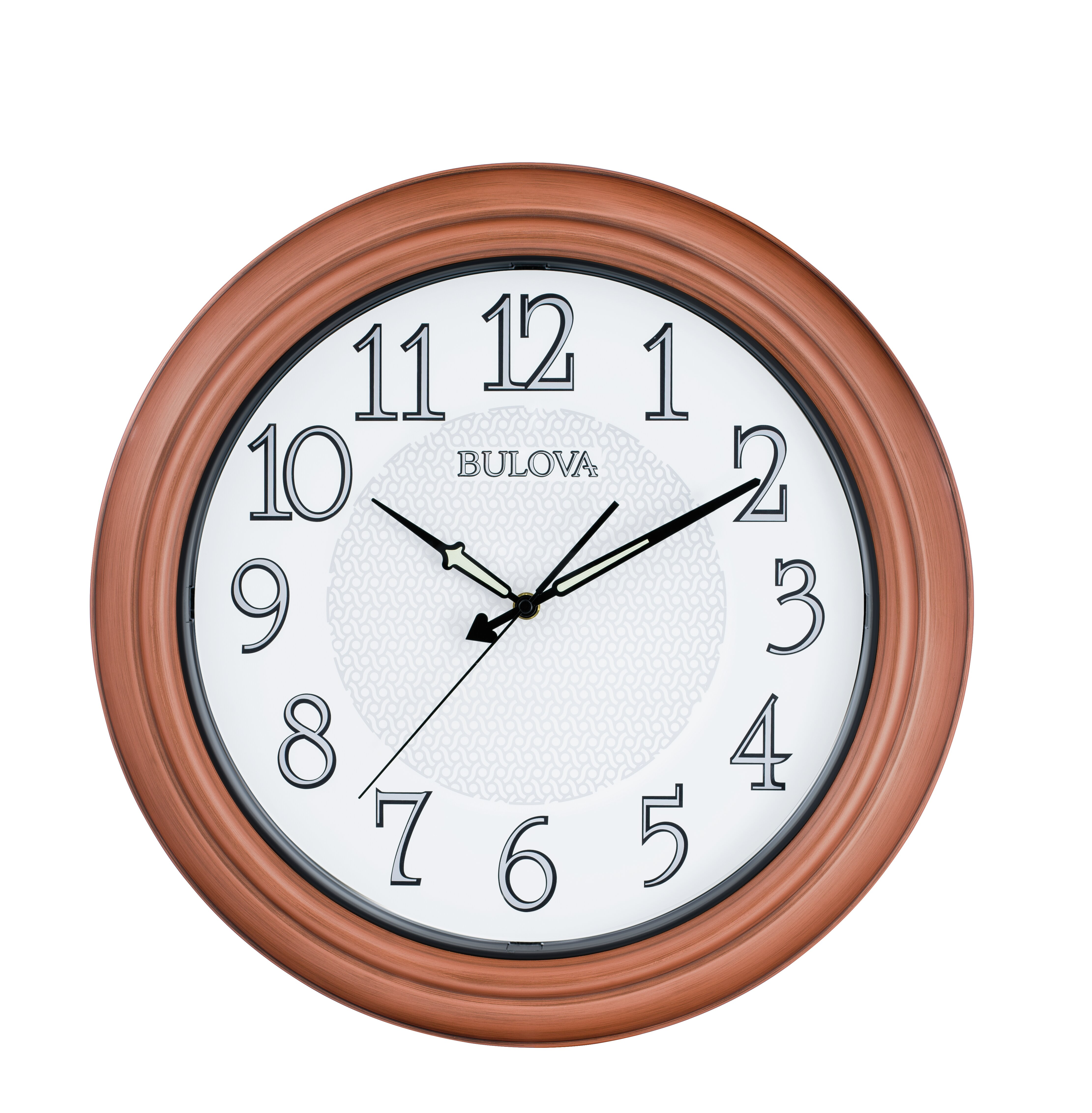 x 24 in Bulova Wall Clock 24 in Round Non-Ticking Wood Analog Quartz Black