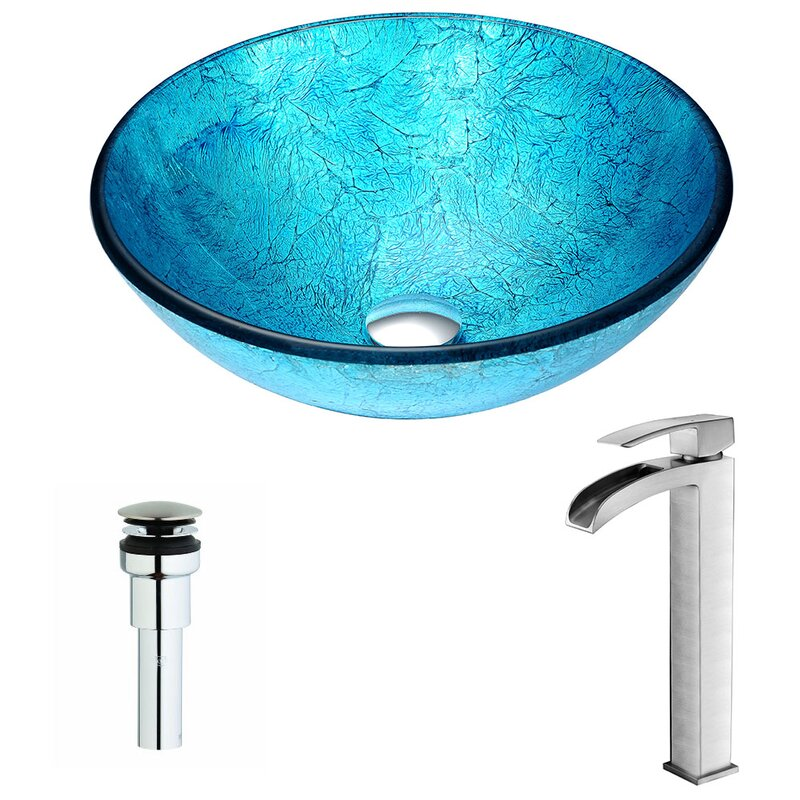Anzzi Accent Blue Tempered Glass Circular Vessel Bathroom Sink With Faucet Reviews Perigold