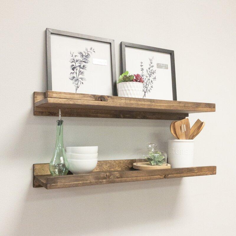 Tishie 2 Shelves 2 Piece Pine Solid Wood Floating Shelf