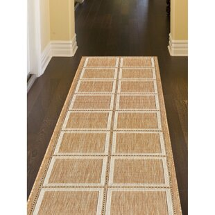 Hamm Squares Beige Indoor/Outdoor Area Rug