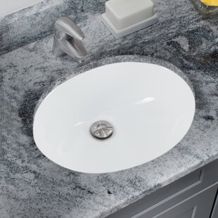 Soleil Glazed Vitreous China Oval Undermount Bathroom Sink with Overflow