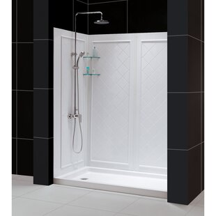 DreamLine 34 in. D x 60 in. W x 76 3/4 in. H Right Drain Acrylic Shower Base and QWALL-5 Backwall Kit In White