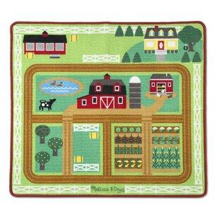 Round The Barnyard Farm Red Area Rug By Melissa Doug