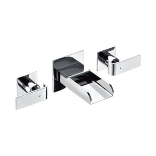 Alfi Brand Modern Waterfall Widespread Wall Lever Bathroom Faucet