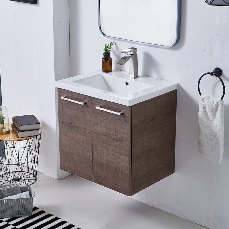 "24""bathroom vanity dual handle wood wallmount cabinet"