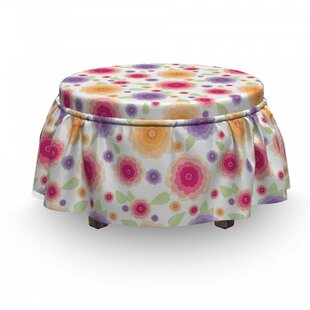 Flowers and Leaves Ottoman Slipcover (Set of 2) by East Urban Home