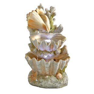 Wildon Home ® Resin Ocean's Bounty Cascading Shell Garden Fountain with LED Light