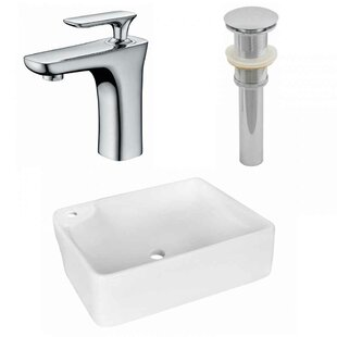 Compare Ceramic Rectangular Vessel Bathroom Sink with Faucet By American Imaginations