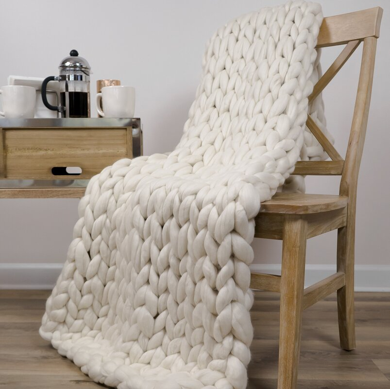 Madeira Chunky Knit Merino Wool Throw